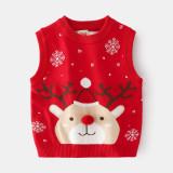 Toddler Girl Snow Deer Vest V Neck Sweater