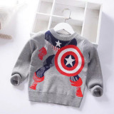 Toddler Boys Captain America Knit Pullover Sweater