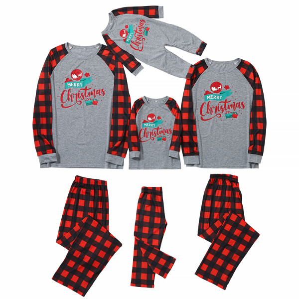 Christmas Family Matching Sleepwear Pajamas Elk Carriage Pattern Slogan Tops And Plaids Pants