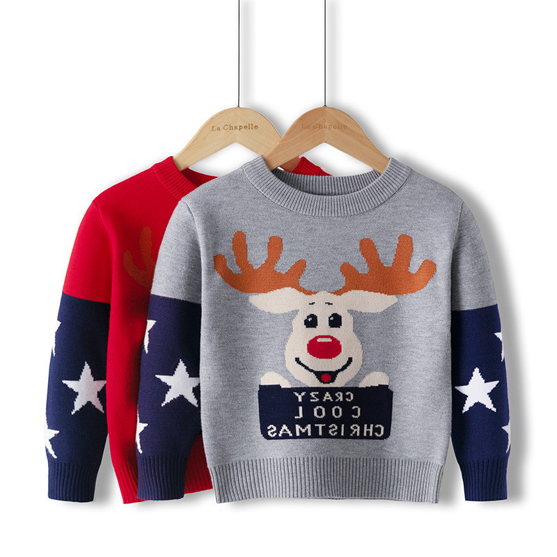 Toddler Kids Boys and Girls Cute Chirstmas Deer Stars Knit Pullover Sweater
