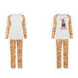 Christmas Family Matching Sleepwear Pajamas Cute Deer Tops And Santa Pattern Printing Yellow Pants