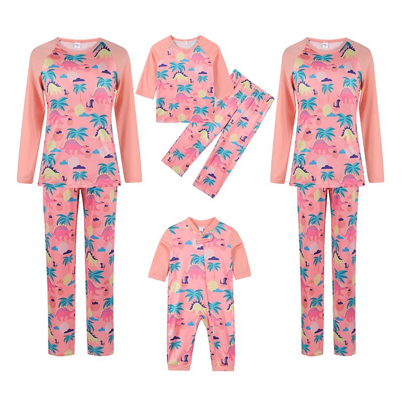 Christmas Family Matching Sleepwear Pajamas Pink Dinosaur Coconut Tree Printing Sets