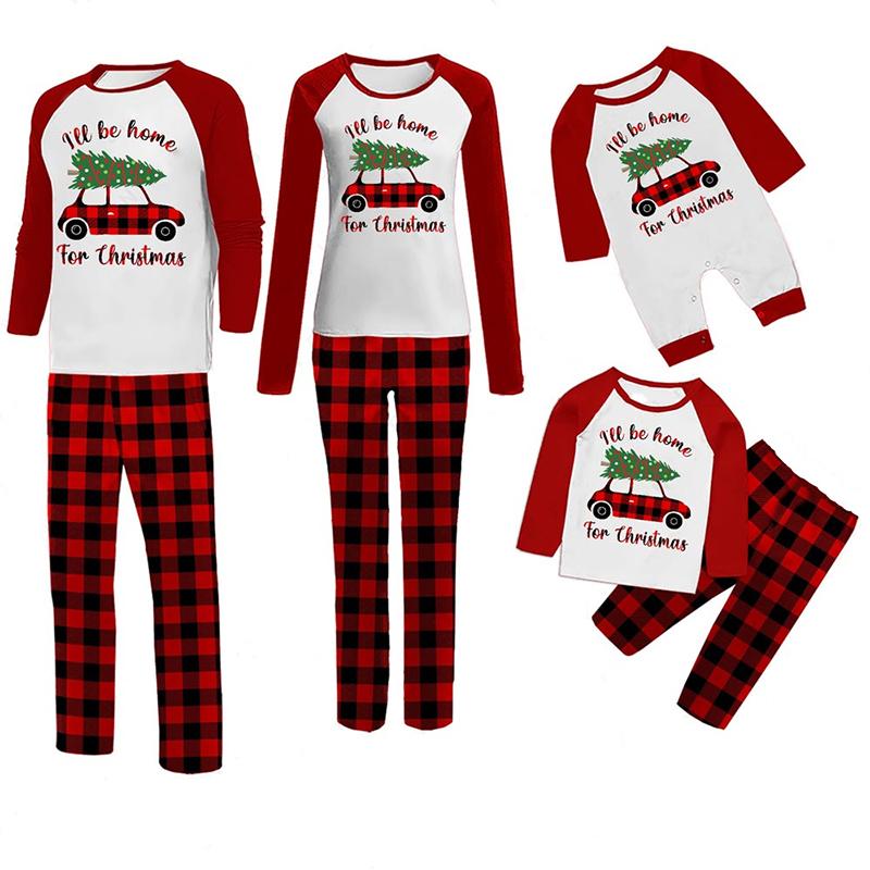 Christmas Family Matching Sleepwear Pajamas I'll Be Home Slogan Car And Trees Tops And Plaids Pants