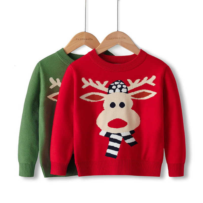 Toddler Boys Christmas Scarf Deer Knit Pullover Sweater