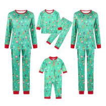 Christmas Family Matching Sleepwear Pajamas Green Deer Santa Printing Sets