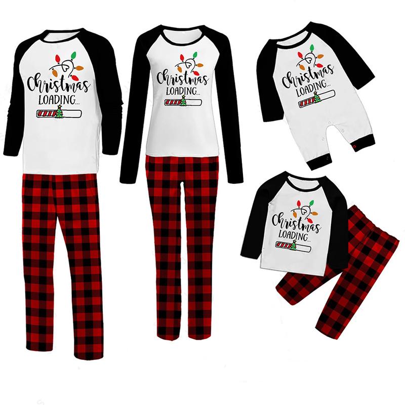 Christmas Family Matching Sleepwear Pajamas Christmas Loading Slogan Tops And Plaids Pants