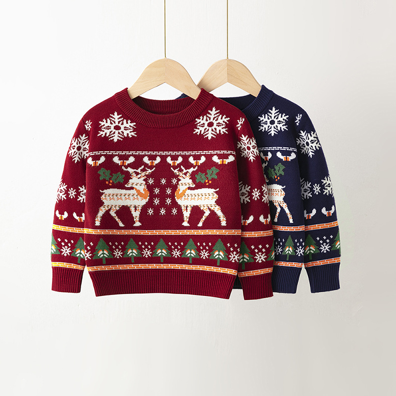 Toddler Girl Prints Christmas Tree Elk Snow Knit Pullover Sweater