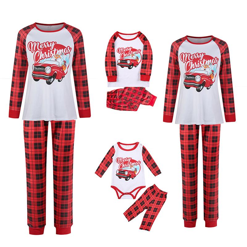 Christmas Family Matching Sleepwear Pajamas Santa Car Slogan Pattern Tops And Plaids Pants
