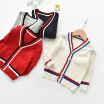 Toddler Kids Boy Wave Stripes Wool Warm Top Sweater Cardigan