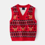 Toddler Boys Antlers Vest V Neck Knit Pullover Sweater