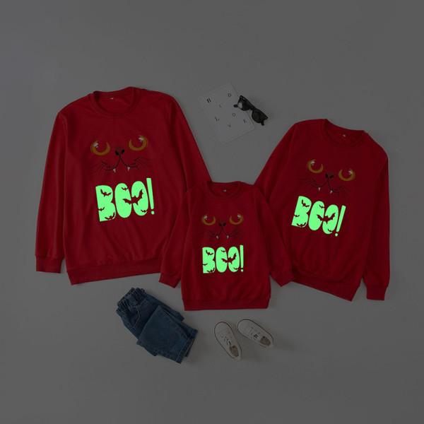 Halloween Family Matching Sweatshirts Luminous Boo Slogan Cat Bat Tops
