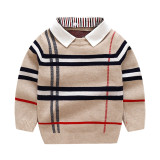 Toddler Boys Detachable Collar Plaid Knit Pullover Sweater