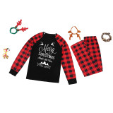 Christmas Family Matching Sleepwear Pajamas Happy New Year Slogan Deer Tops And Plaids Pants