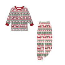 KidsHoo Exclusive Design Kids Toddler Boys Girls Christmas Sleepwear Pajamas Multielement Deer Printing Sets
