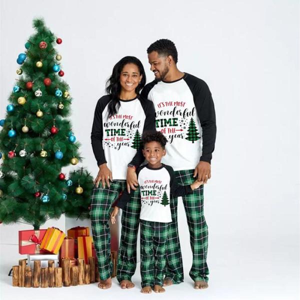 KidsHoo Exclusive Design Christmas Family Matching Sleepwear Pajamas Most Wonderful Time Of Year Slogan Tops And Green Plaids Pants