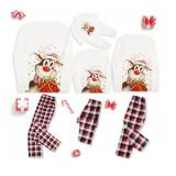 KidsHoo Exclusive Design Christmas Family Matching Sleepwear Pajamas Sets Christmas Deer Gift Top and Plaids Pants With Dog Cloth