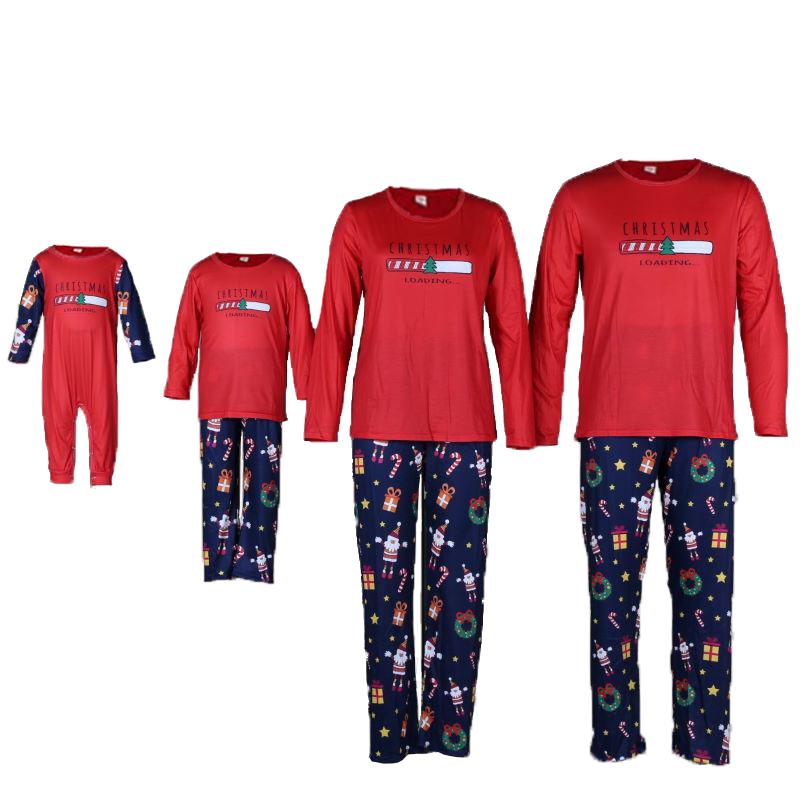 Christmas Family Matching Sleepwear Pajamas Red Christmas Slogan Pattern Tops And Santa Multielement Pants Sets