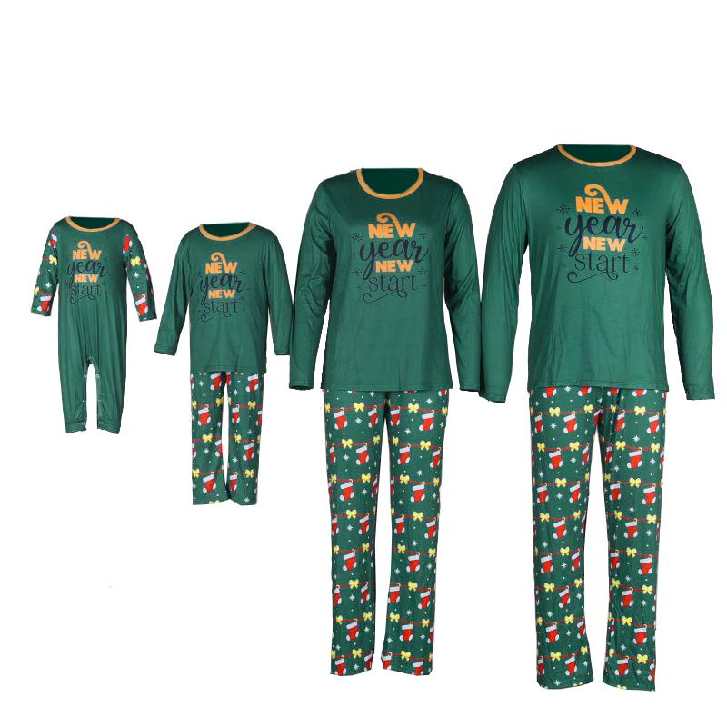Christmas Family Matching Sleepwear Pajamas Green New Year Slogan Tops And Socks Printing Pants Sets