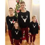 Christmas Family Matching Pajamas White Deer Head and Plaid Pants Black Family Pajamas Sets