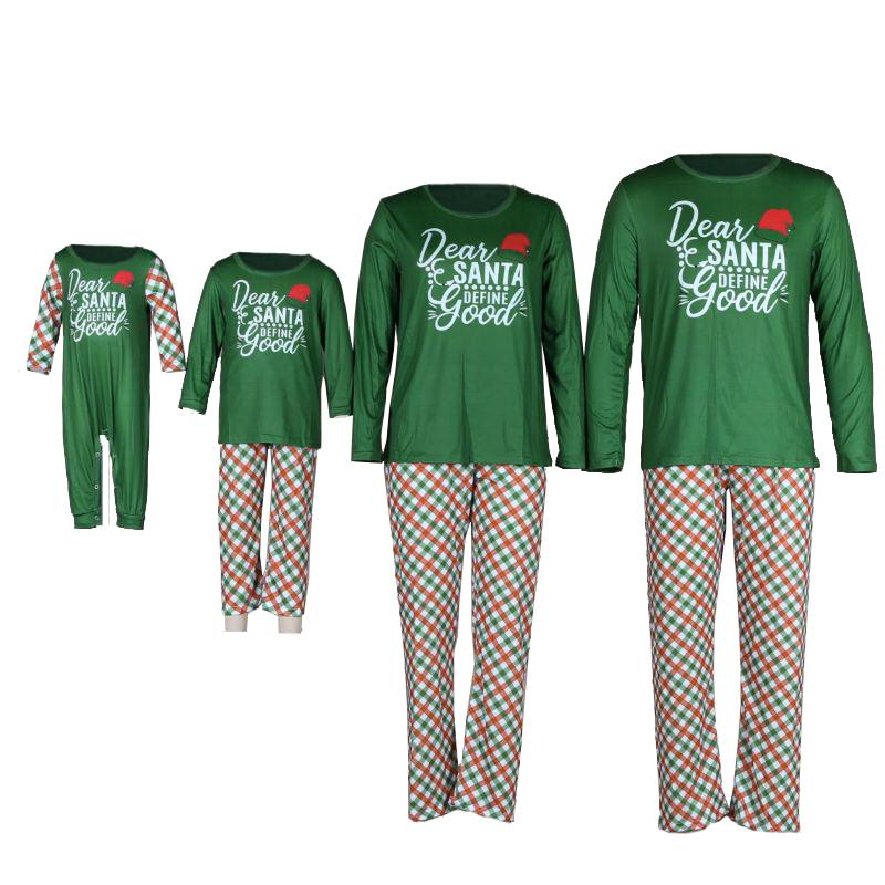 Christmas Family Matching Sleepwear Pajamas Green Dear Santa Slogan Tops And Plaids Pants