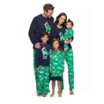 Christmas Family Matching Sleepwear Pajamas Sets Saurus Slogan Tops And Green Pants