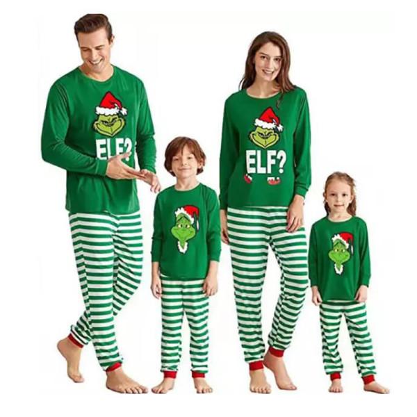 Christmas Family Matching Sleepwear Pajamas Green Elf Slogan Tops And Strips Pants
