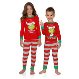 Toddler Kids Boys and Girls Christmas Pajamas Red Monster Top and Red Stripes Pants Sets
