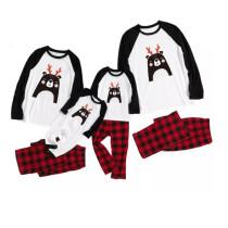 Christmas Family Matching Sleepwear Pajamas Cute Smile Antler Bear Tops And Plaids Pants