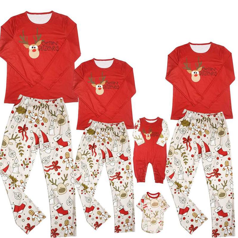 Christmas Family Matching Sleepwear Pajamas Red Cute Oxeye Deer Slogan Sets