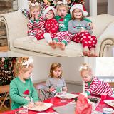Christmas Family Matching Sleepwear Pajamas Sets Green Slogan Top and Red Stripes Pants