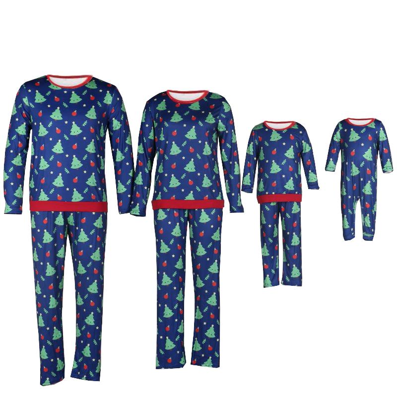 Christmas Family Matching Sleepwear Pajamas Christmas Trees Bell Printing Sets