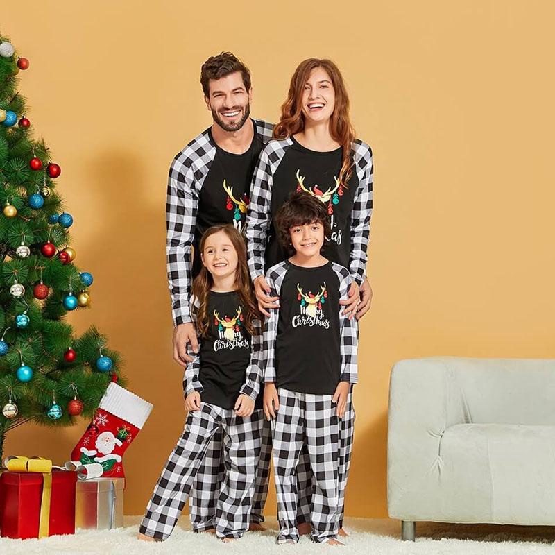 Christmas Family Matching Sleepwear Pajamas Elk Slogan Tops And Black White Plaids Pants