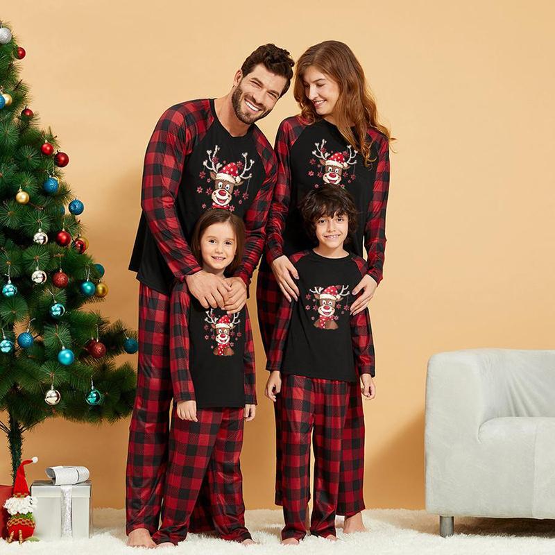Christmas Family Matching Sleepwear Pajamas Sets Black Deers Plaid Snow Top and Red Pants