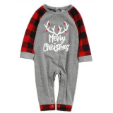 Christmas Family Matching Sleepwear Pajamas Sets Merry Christmas White Antlers and Red Plaids Pants With Dog Cloth