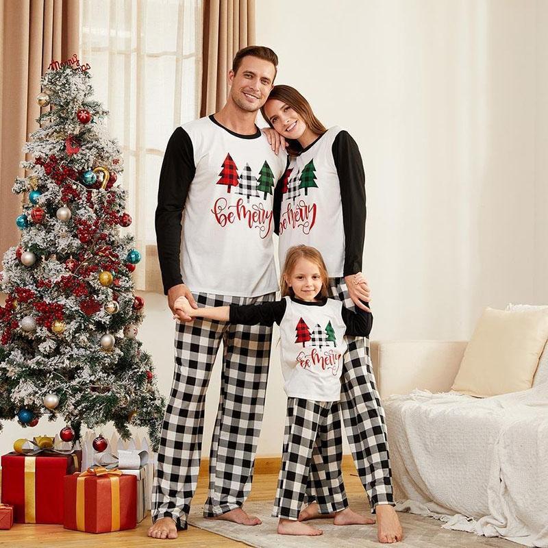 Christmas Family Matching Sleepwear Pajamas Christmas Trees Slogan Tops And Black White Plaids Pants