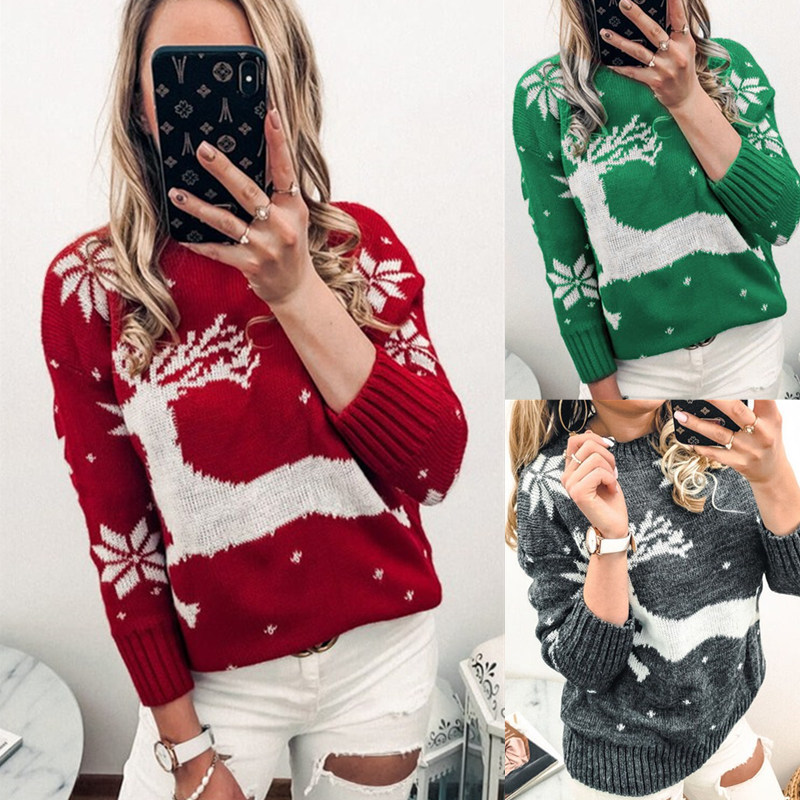 Women Ugly Christmas Deer Elk Snowflake Knitted Pullover Sweater Tops