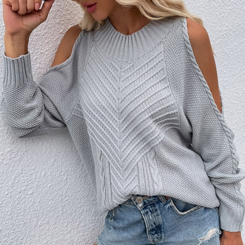 Women Pure Color Off Shoulder Knit Long-Sleeved Thick Needle Round Neck Sweater