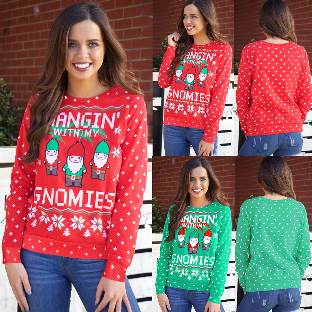 Women Ugly Christmas Printed Santa Claus Casual Pullover Plush Sweater