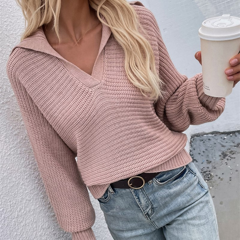Women V Neck Pure Color Knit Collar Pullover Sweater