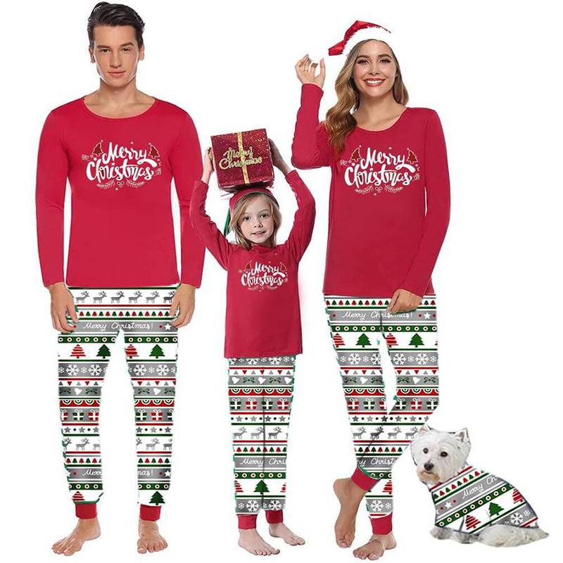 Christmas Family Matching Sleepwear Pajamas Red Merry Christmas Pajamas Sets With Dog Cloth