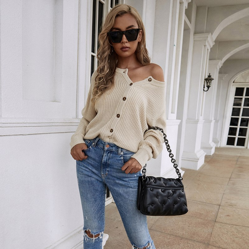 Women V Neck Pure Color Loose Knit Cardigan Sweater with Button