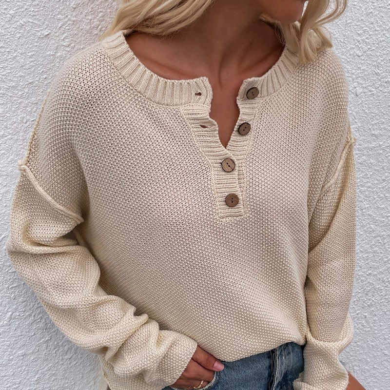 Women Solid Color Pullover V Neck Knitted Sweater