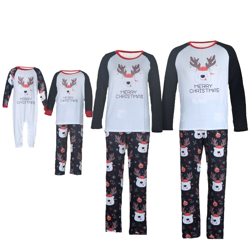 Christmas Family Matching Sleepwear Pajamas Christmas Cute Deer Pajamas Set With Dog Cloth