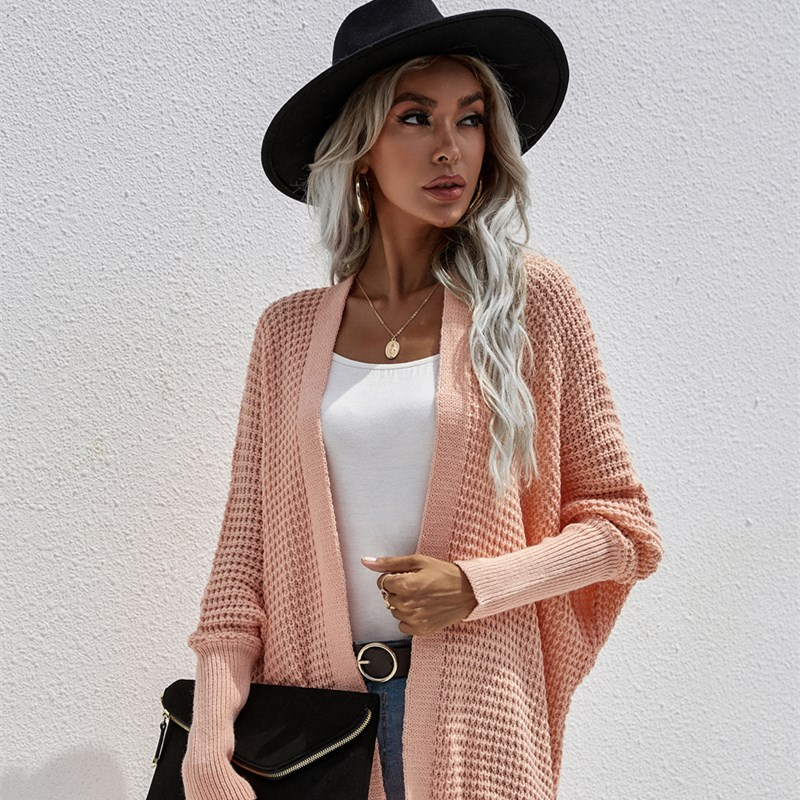 Women Knit Hollow Out Loose Mid Length Cardigan