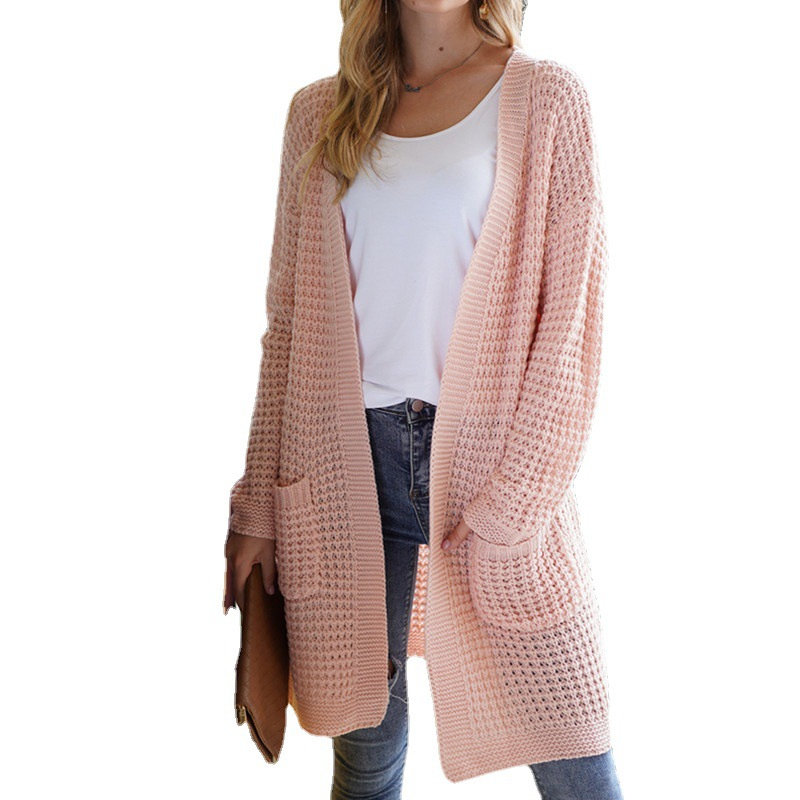 Women Loose Knitted Length Cardigans With Pockets
