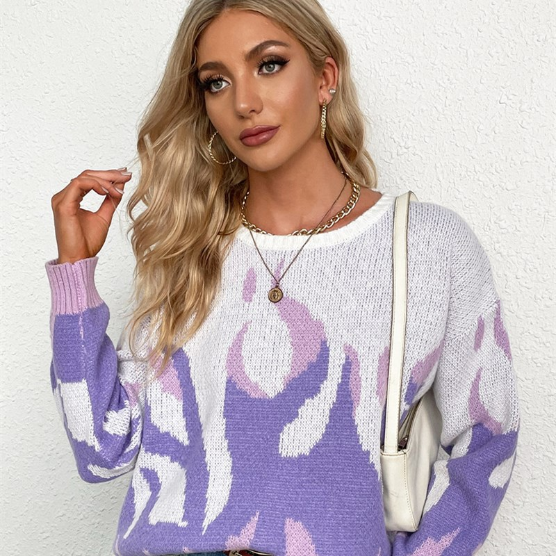 Women Knitted Mid-Length Round Neck Pullover Sweater