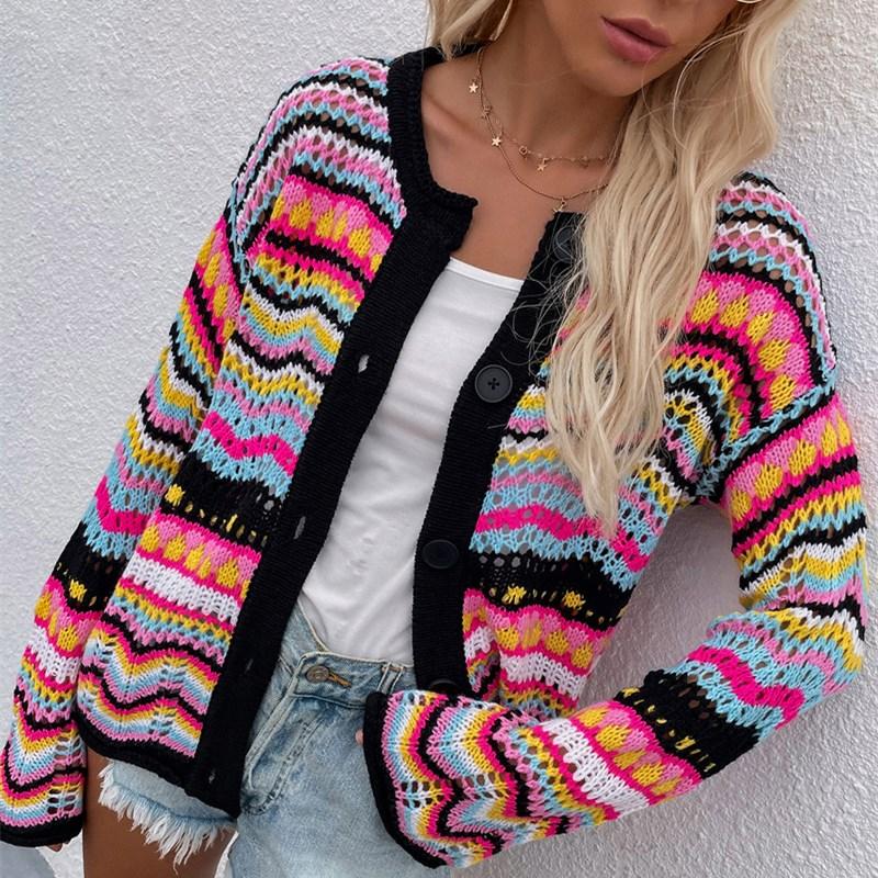 Women Striped Sweater Loose Rainbow Knit Sweater Button Cardigan