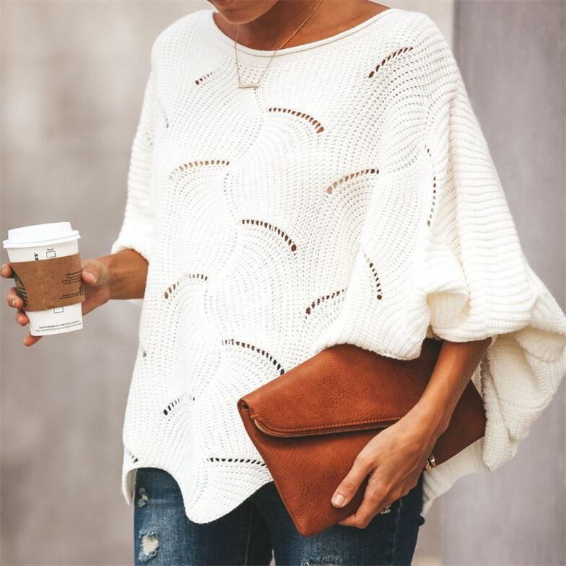 Women Hollow Out Batwing Loose Knitted Sweaters