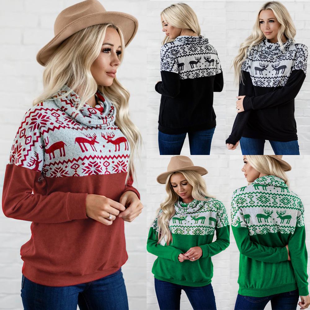 Women Christmas Deers Casual Pullover High Collar Sweatshirt