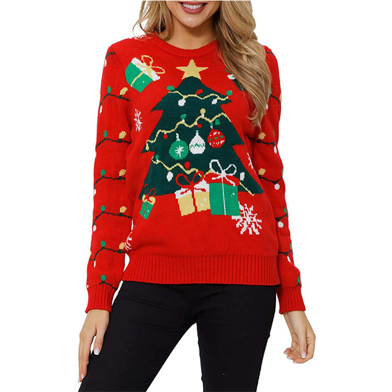 Women Ugly Christmas Sweaters Green Xmas Tree Snowman Pullover Loose Knitted Jumper Sweaters